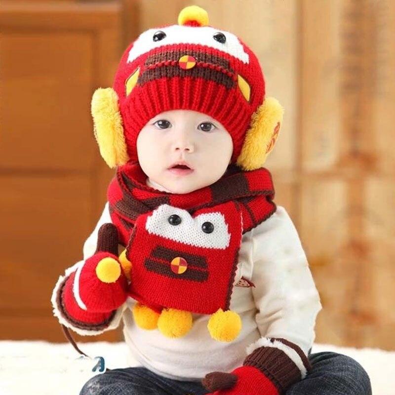 2017 Car Boys Girls Kids Winter Warm Hats Scarf set Beanie Caps Mittens For Xmas a2