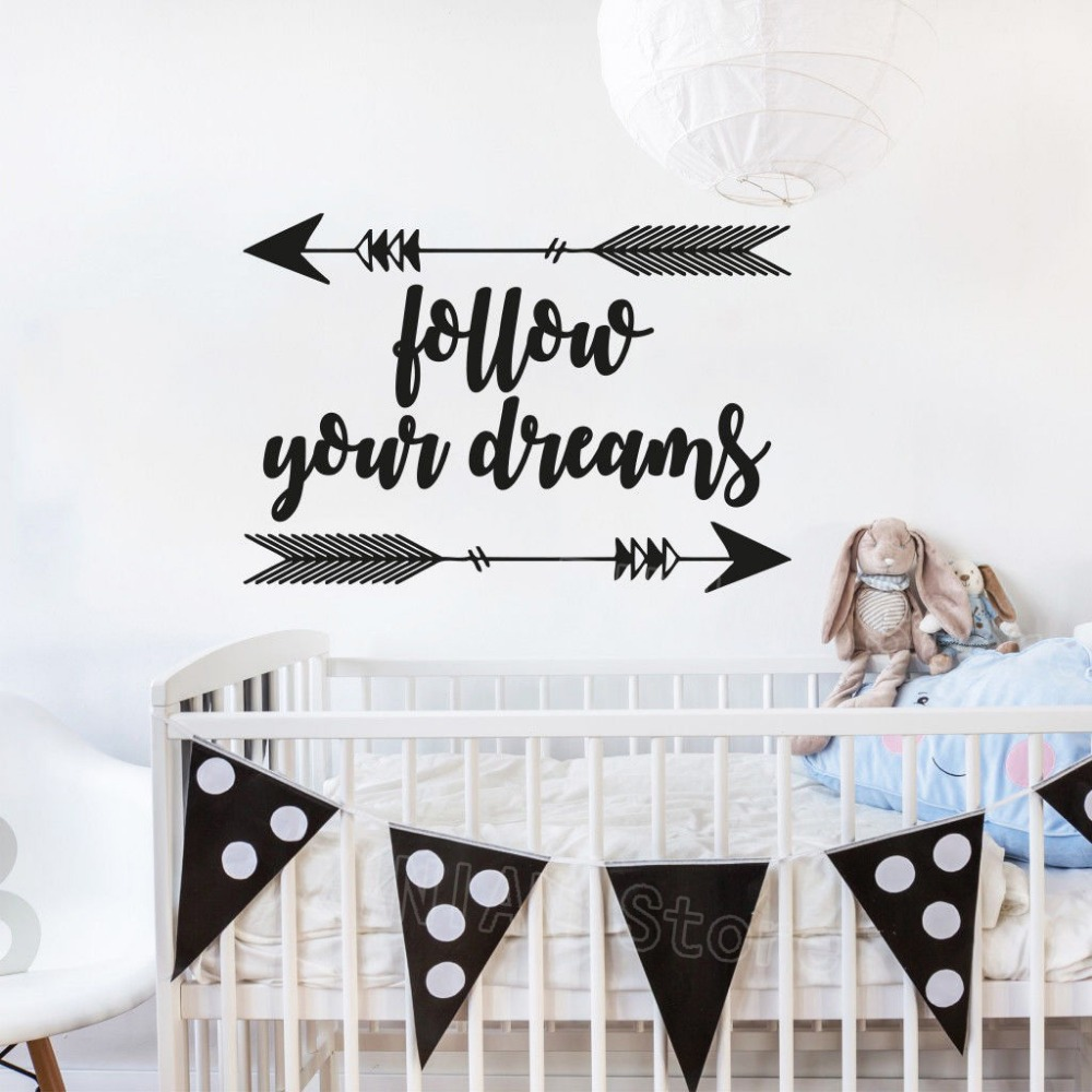 Nursery Ideas And Décor To Inspire You: Follow Your Dreams Wall Decal Quote Kids Rooms Decoration