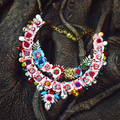 Shourouk flower necklace Baroque full rhinestone necklace exaggerated Garland statment necklace for women