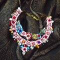 Shourouk flor colar barroco colar de strass exagerada guirlanda statment colar para mulheres