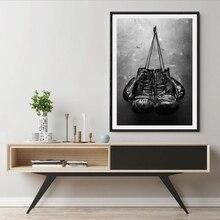 Guantes de boxeo de arte Vintage Impresión de póster sobre lienzo cuadro de pared blanco y negro pintura deportiva para sala de estar decoración del hogar sin marco