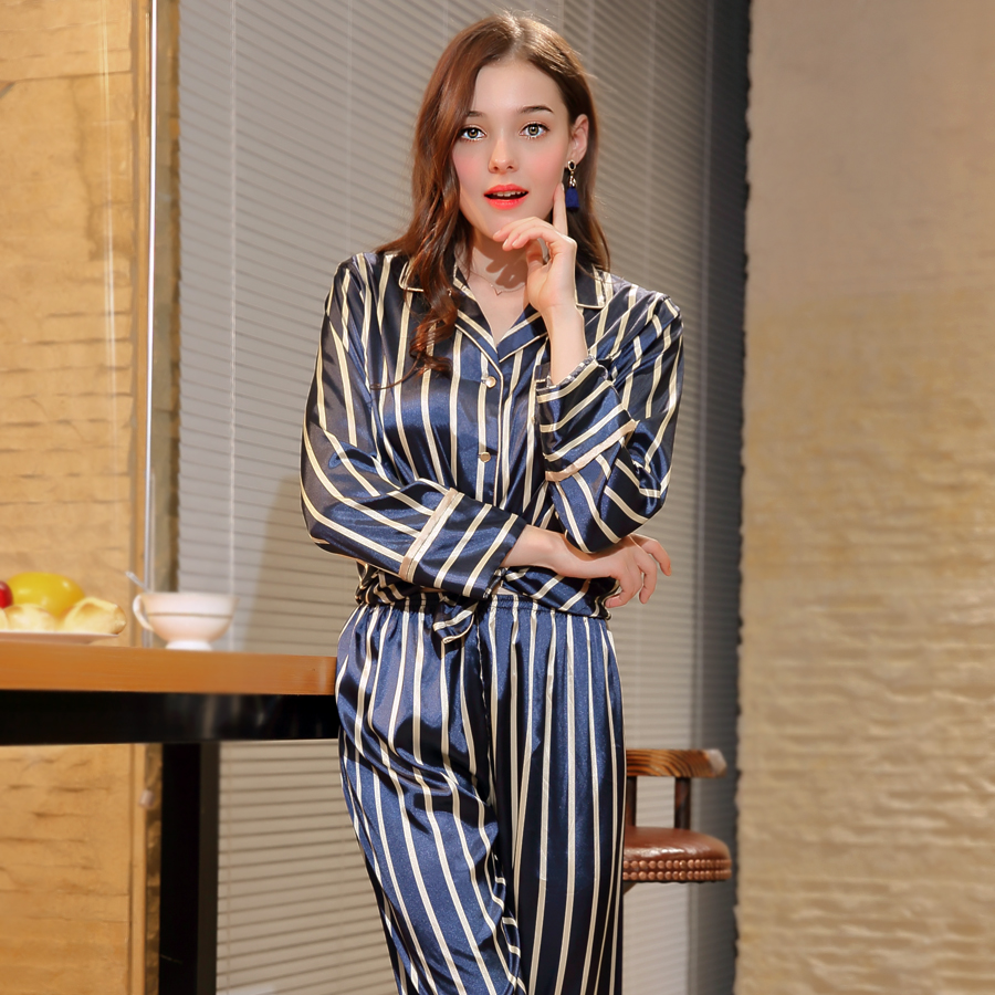 4XL Plus Size   Pajamas   for Women 2018 Female Faux Silk Stripe Lingerie Sleep Wear Brand Long Sleeve Trousers   Pajama     Set   DM596