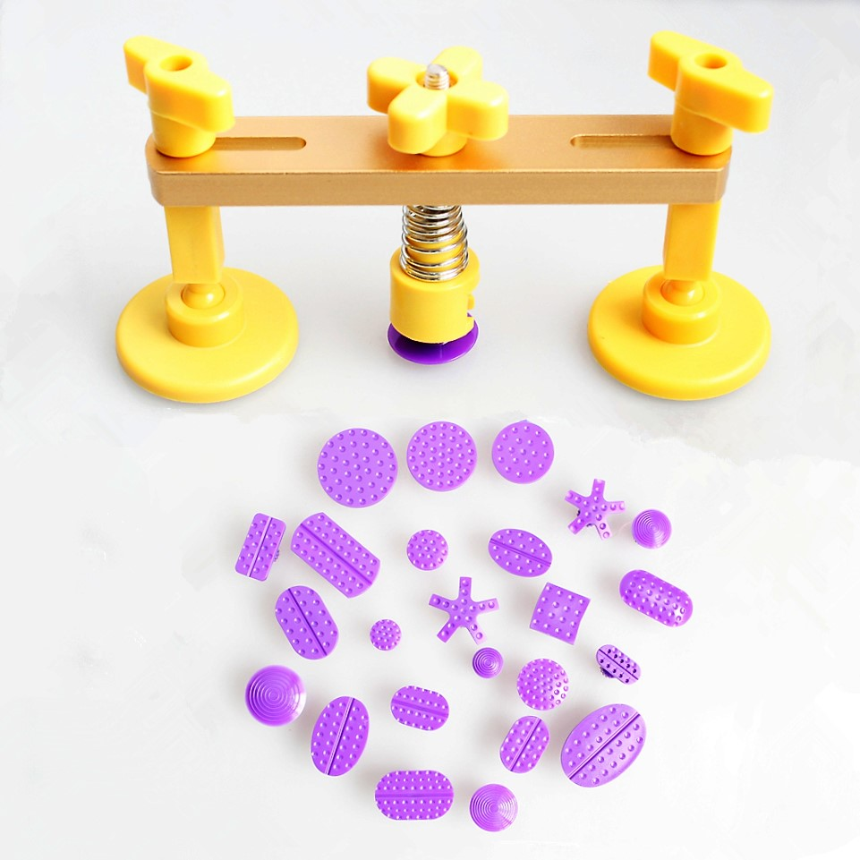 Car Professional Bridge Dent Puller Kit Auto Body Removal Tools PDR Hand Tool with 24pcs Different Size Glue Tabs