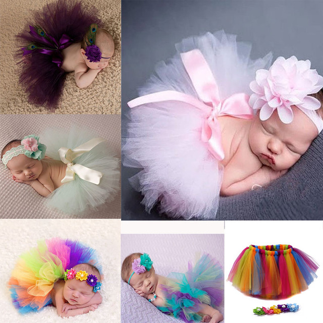 Bebé recién nacido niña ropa niñas flor diadema malla bola vestido faldas tutú fotografía Prop Bebé Ropa conjunto MU986703