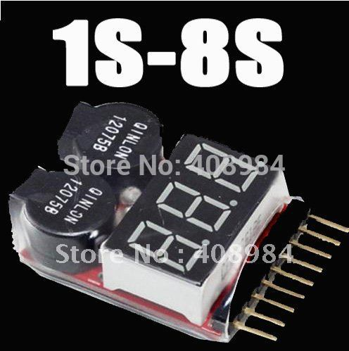 1-8S LED Low Voltage Buzzer Alarm Lipo  battery Voltage Indicator Checker Tester 1pc bx100 1 8s lipo battery voltage tester low voltage buzzer alarm battery voltage checker with dual speakers