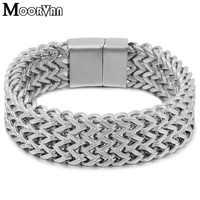 Moorvan Mens stainless steel new-fashion chain bracelet flat heavy 19mm wide jewelry birthday for dad,her boyfriend present
