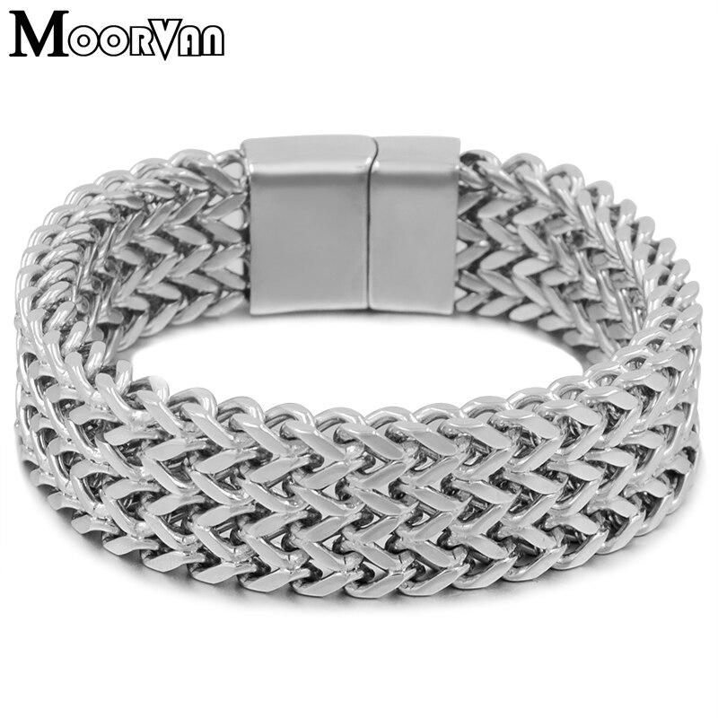 Moorvan pesado Dos Homens de aço inoxidável new-moda pulseira cadeia plana 19mm de largura jóias de aniversário para o pai, ela namorado presente