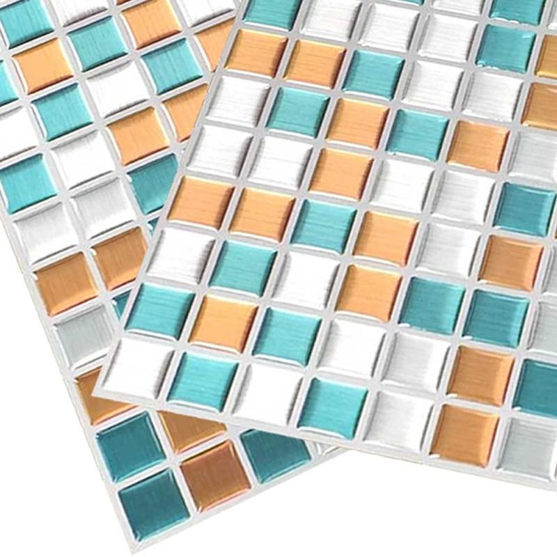 Peel and Stick Wall Tiles Mosaic Vinyl Tile Adhesive Backsplash Tile for Kitchen,Pack of 2