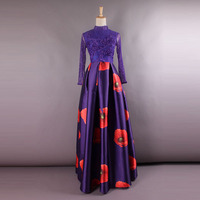 2017 Spring And summer Newest Elegant Purple Round Collar Perspectivity Of Embroidery Expansion Bottom Luxury Long Dress