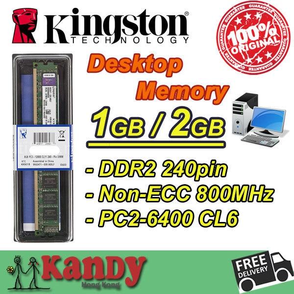 Kingston ValueRAM desktop memory RAM DDR2 2GB 800 MHz PC2 6400 Non ECC 240 Pin DIMM memoria ram computer computador pc ram 450260 b21 445167 051 2gb ddr2 800 ecc server memory one year warranty