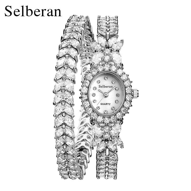 2016 50M Waterproof Selberan Gold/Silver Natural Zircon Wrist Watch for Women Luxury Ladies Bracelet Watch Montre Femme Strass