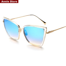 Peekaboo Big sexy transparent cat eye sunglasses 2017 women luxury brand woman sun glasses 2017 blue mirror metal oculos sol