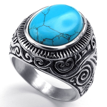 Men's Classic Vintage Style Big Turquoise Stainless Steel Carved Band Ring