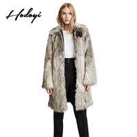 Hodoyi 2018 New Punk Style Wolf Pattern Faux Fur Coat Butterfly Sleeve Women Long Line Patchwork