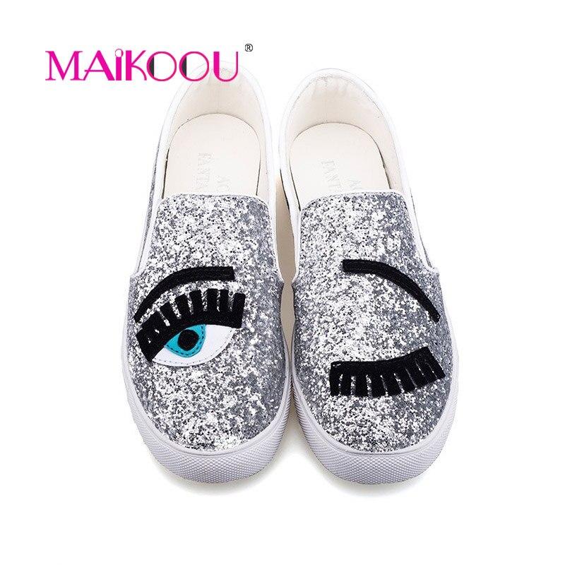 Cartoon Big Eyes Diamond Lady Casual Shoes Women Flats 2018 Spring New Fashion Girls cute shoes for women sneakers shoes