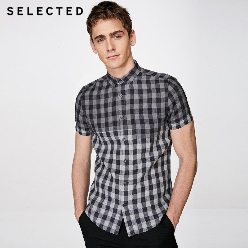เลือกผ้าลินินตรวจสอบสี splicing ธุรกิจสั้นเสื้อแขนสั้น S  418204526-ใน เสื้อแขนสั้น จาก เสื้อผ้าผู้ชาย บน AliExpress - 11.11_สิบเอ็ด สิบเอ็ดวันคนโสด 1