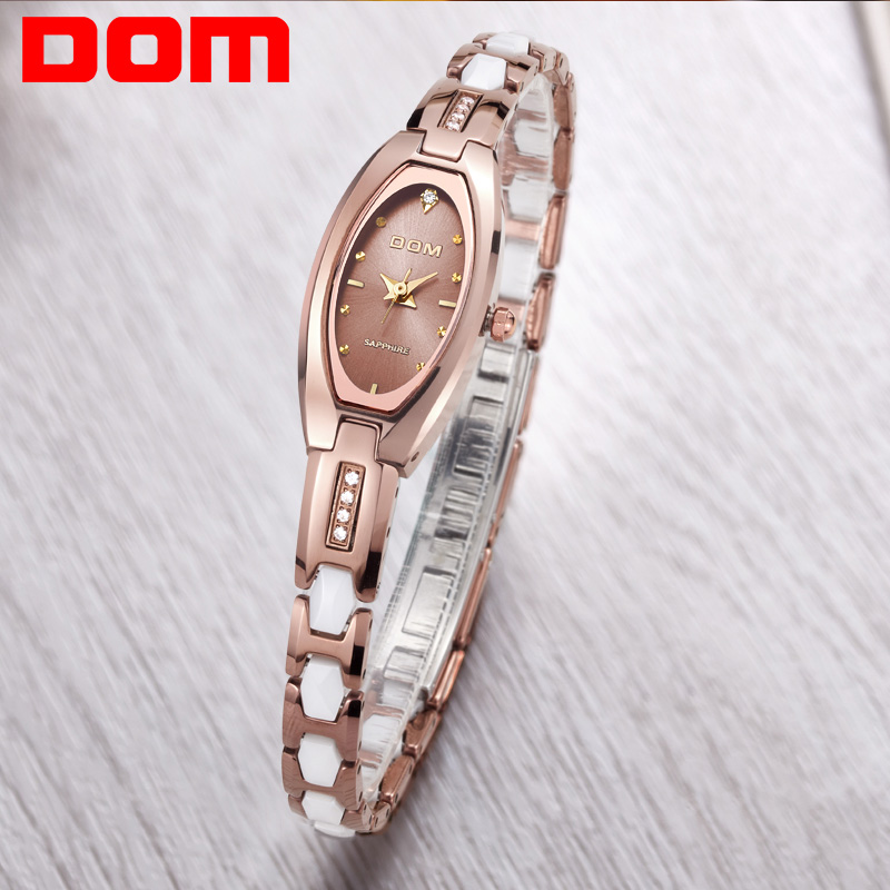DOM Tungsten Steel Ladies Watch Gold Hands Clock Women Watches Sapphire Glass Montre Femme Luxury Brand Bracelet Quartz Watch brand luxury rose gold women watches ladies quartz analog clock girl casual watch women steel bracelet wrist watch montre femme
