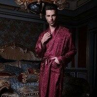 Chinese Pure Silk Robe Couple Long Sleeve 100% Silk Robe Sleepwear Bathrobe Dressing Gown Lovers Silk Kimono Homer 13167
