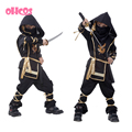 Halloween Gift !110-140CM Children Boy Martial Ninja Cosplay Clothing Warrior Stage Suit Kids Swordsman Costume Christmas Gifts