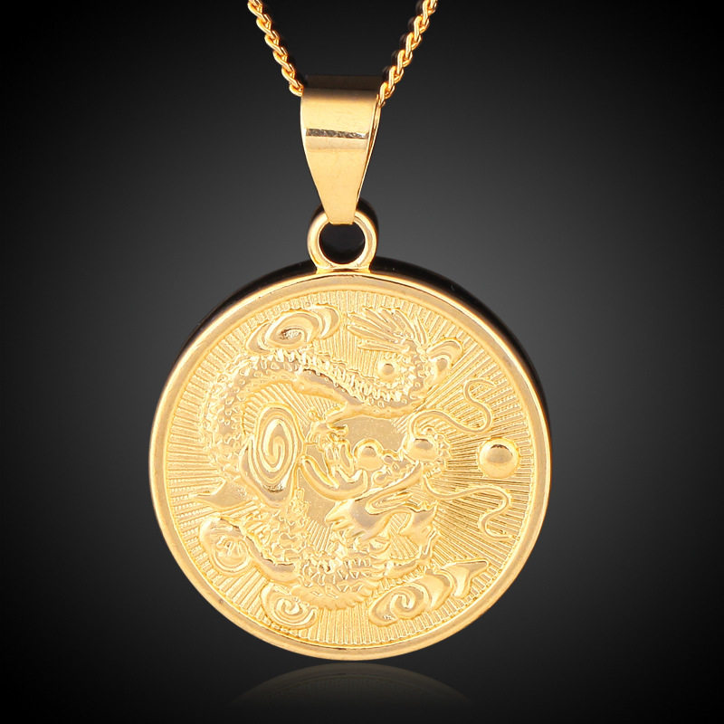 Wholesale vintage gold color round chinese ethnic zodiac dragon wholesale vintage gold color round chinese ethnic zodiac dragon pendant necklace jewelry for women men drop shipping trendy gift in pendant necklaces from mozeypictures Image collections