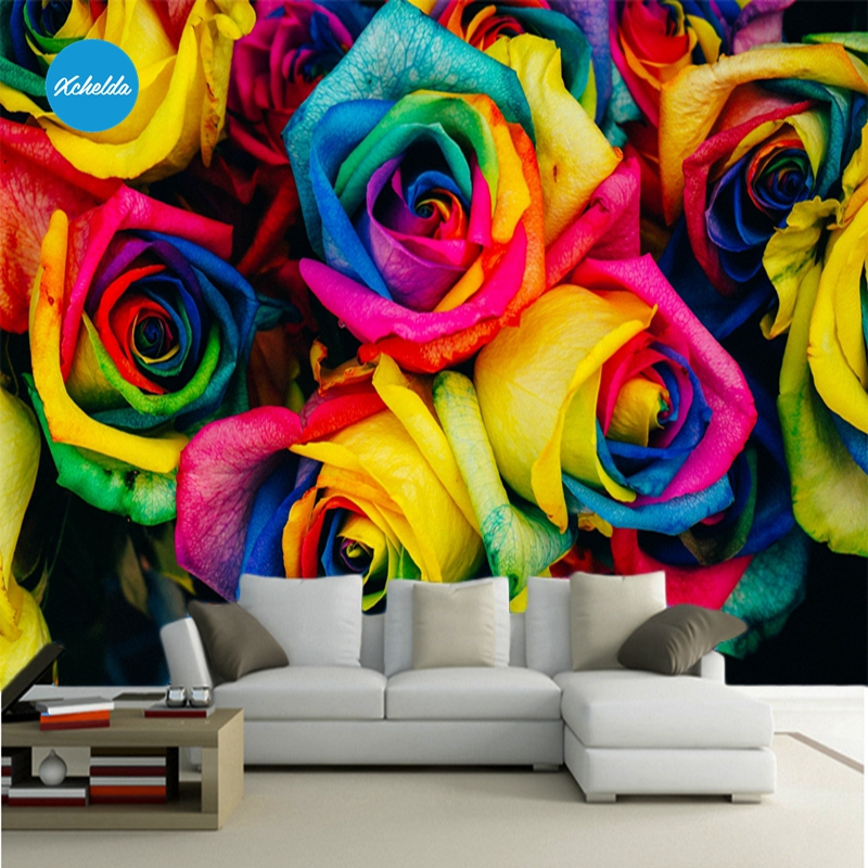 XCHELDA Custom 3D Wallpaper Design Colorful Rose Photo Kitchen Bedroom Living Room Wall Murals Papel De Parede Para Quarto kalameng custom 3d wallpaper design street flower photo kitchen bedroom living room wall murals papel de parede para quarto