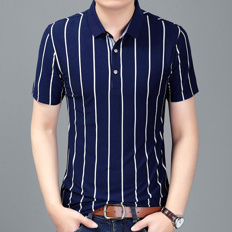 2019 New Fashion Brands   Polo   Shirt Men Striped Summer Slim Fit Short Sleeve Top Grade Poloshirt Stand Collar Casual Clothes