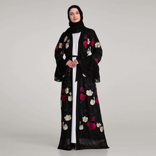 Luxury Muslim Sleeve Cardigan Kimono Long Robe Tunic Middle Embroidery Floral Abaya Full Dresses Flare East Ramadan Arab Islamic