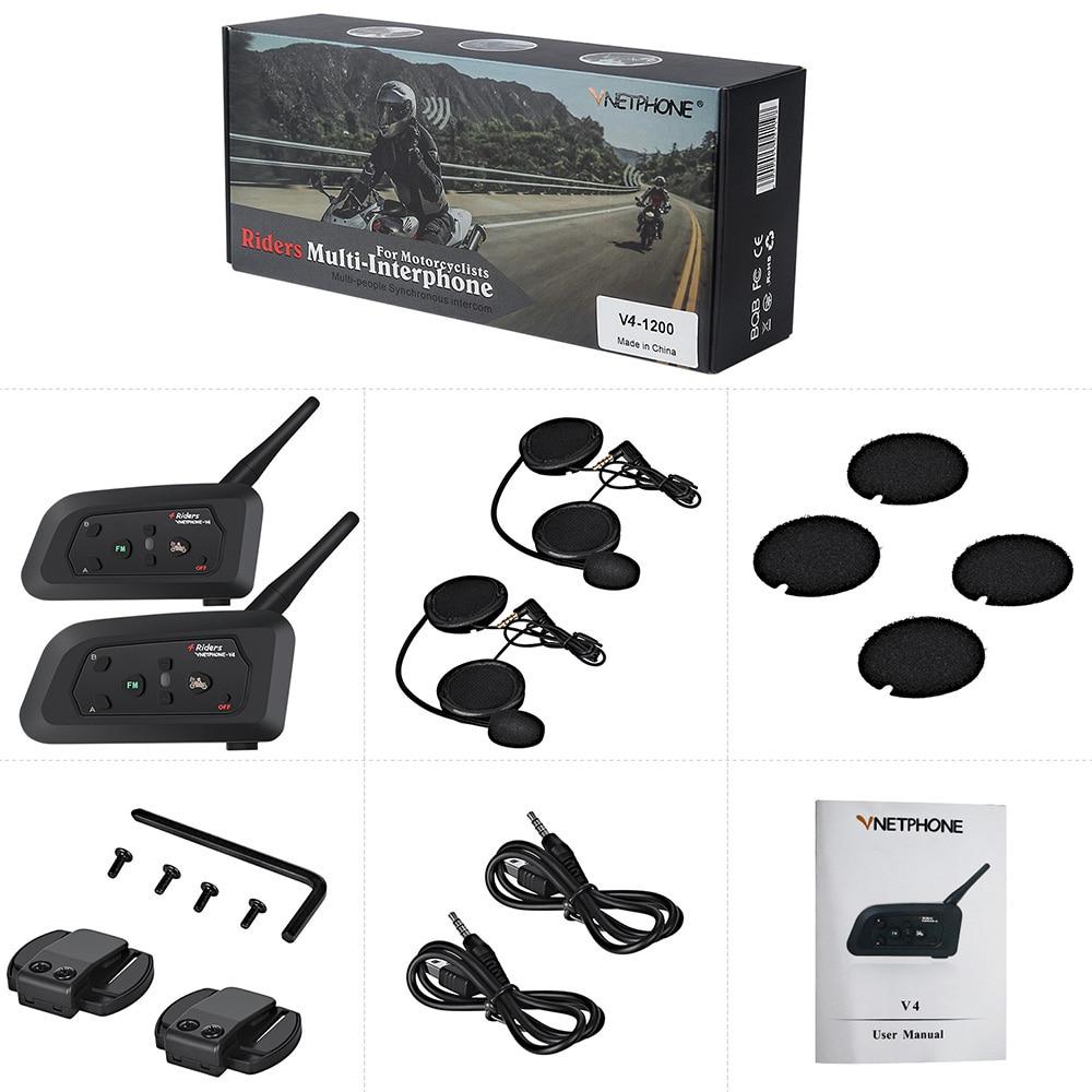 Vnetphone V4 Moto Casque Interphone Casque 1200 M 4 Coureurs Moto BT Interphone Avec FM Radio duoble Accessoires