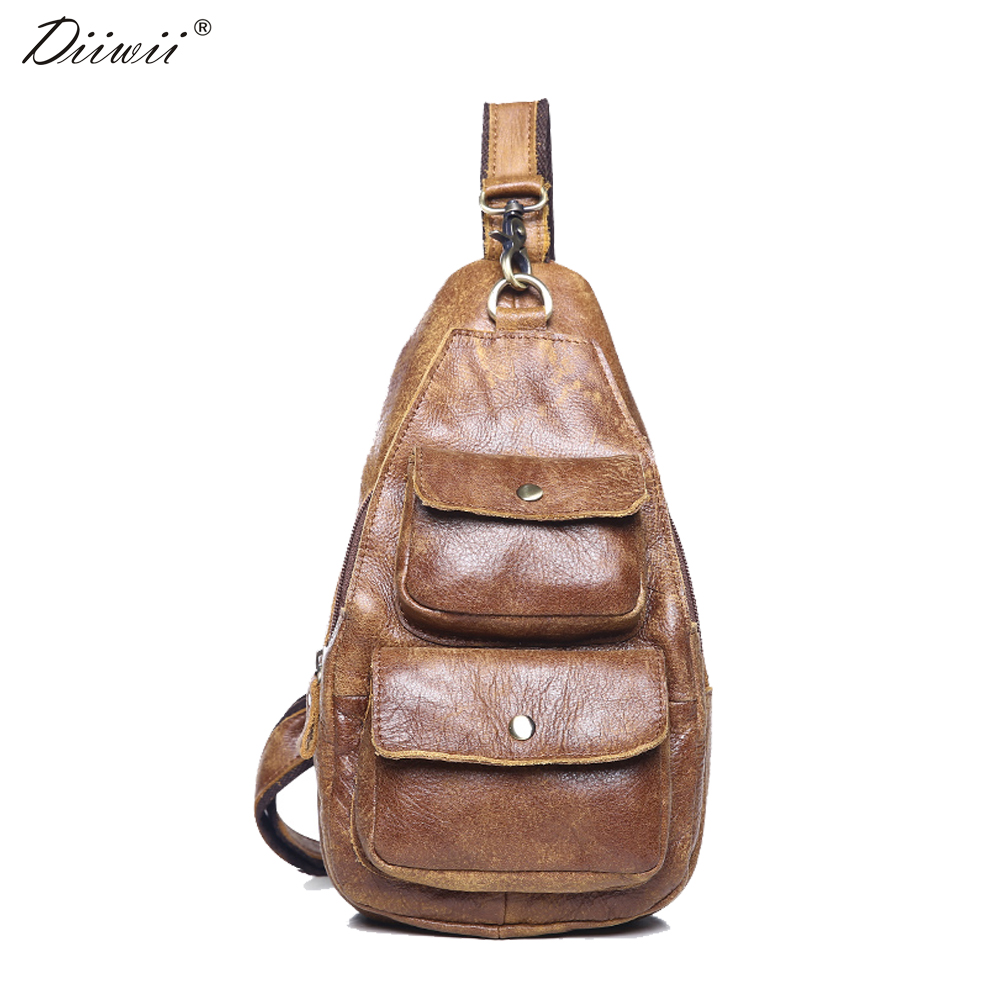 ФОТО Diiwii New Arrival Genuine Leather cowhide chest pack Men's Crossbody chest bags casual small shoulder bag for male man bag 2017