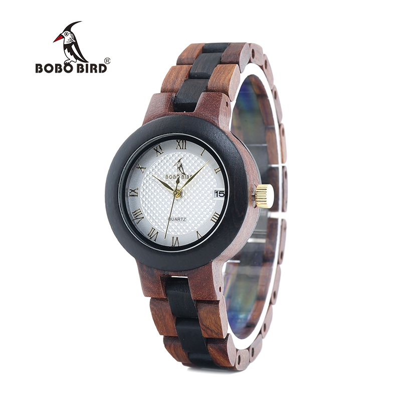 BOBO BIRD LO24 Classic Women Watches With Calendar Layout Ladies Quartz Wooden Reloj Hombre Can OEM