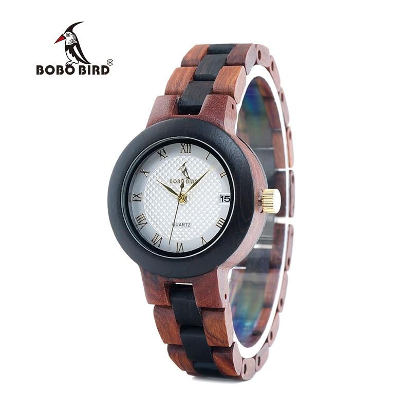BOBO BIRD LO24 Classic Women Watches With Calendar Layout Ladies Quartz Wooden Reloj Hombre Can OEM