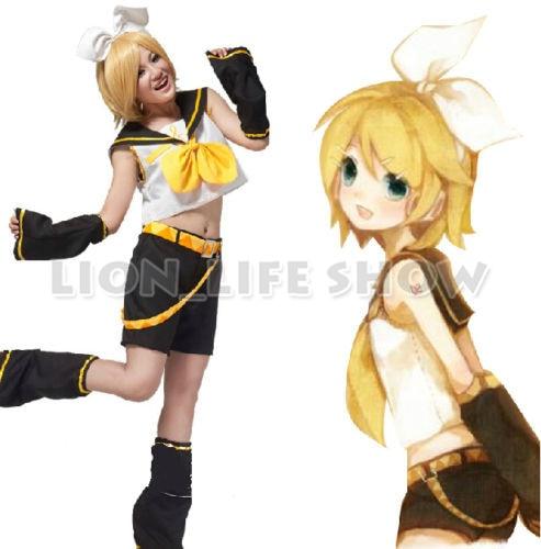VOCALOID Kagamine Rin Kagamine Len Uniforme Halloween Cosplay Trajes Completos Tops + Shorts