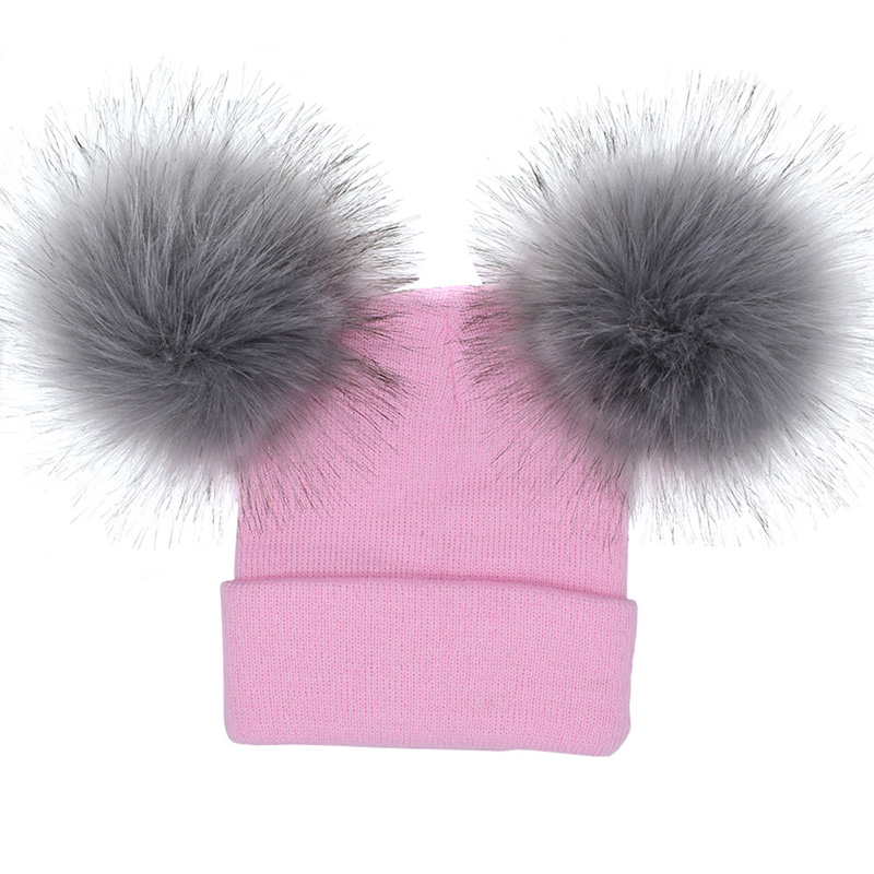 HTB1rkdmfDTI8KJjSsphq6AFppXaq 2PCS/Set Baby Mom Hats Double Ball Raccoon Faux Fur Pompom Family Matching Hats Winter Warm Kids Knitted Beanies Family Look