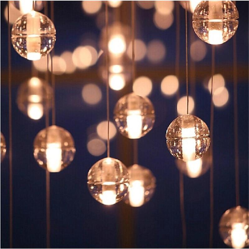 G4 LED Crystal Glass Ball Pendant Lamp Meteor Rain Meteoric Shower Stair Bar Droplight Chandelier Lighting AC110-240V z best price led downlight droplight double ball stair crystalline light creative bar hotel led crystal chandelier parts