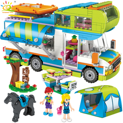 534pcs City Outing Camper Bus Car Girls Figures Building Blocks Compatible Legoing Friends Bricks Educational Toys for Children