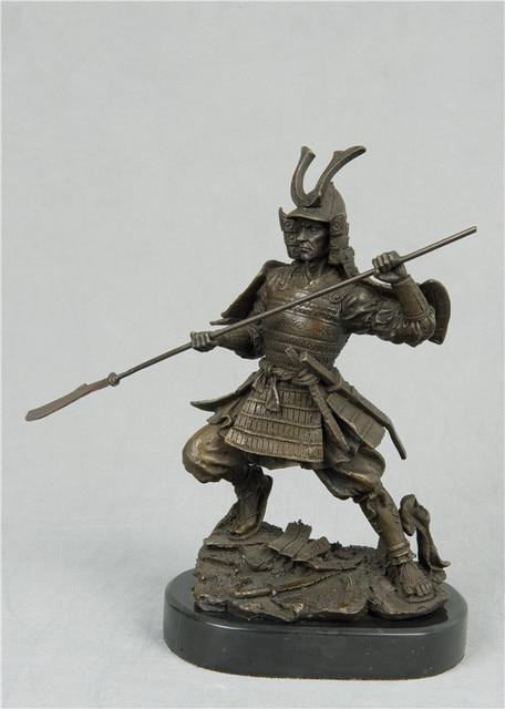 atlie bronzes sculpture armor soldier statues metal art decor katana