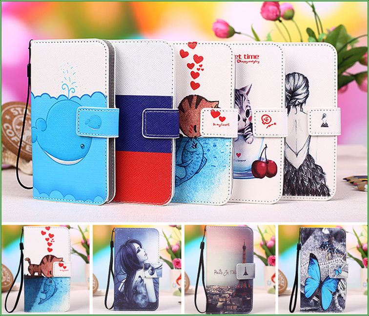 12 Patterns Colored Painting PU Leather Flip case for Fly IQ436i ERA Nano 9 Case Cover, Fly IQ 436i wallet phone Case +Tracking