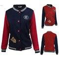 New Fashion Women Stand Collar Long Sleeve Contrast Color Badge Buttton Jacket Baseball Uniform Spring Short Patchwok Coat