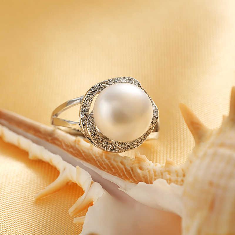 925 סטרלינג תכשיטי כסף על מכירה גדול טבעי פרל טבעות לנשים אבן טבעת מתכוונן לבן/ורוד/סגול פרל לנשים