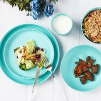 LEKOCH 5pcs Bamboo Children Tableware Plates Kitchen Dinnerware Set Dishes Biodegradable Eco friendly Restaurant Salad Bowl Cup
