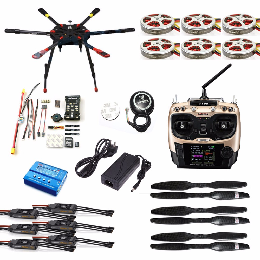 US $701 91 18% OFF|Full Set Hexacopter GPS Drone Aircraft Kit Tarot X6 6  Axis TL6X001 PX4 32 Bits Flight Controller Radiolink AT9S TX&RX F11283 C-in