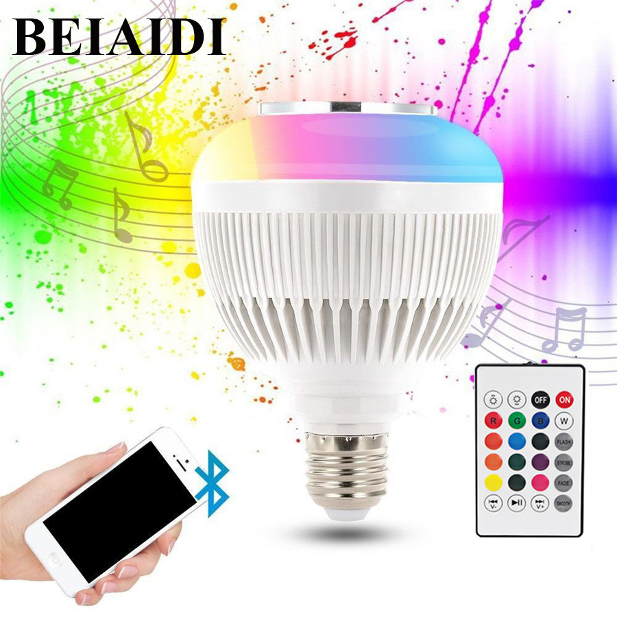 BEIAIDI 12W E27 Smart RGBW Bluetooth Speaker Bulbs LED RGBW Music Bulb Light Lamp with 24 Keys Remote Controller Energy-Saving