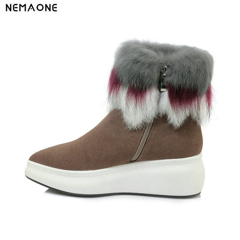NemaoNe cow suede leather real mixed fur short ankle women winter snow boots for women winter shoes black khakiNemaoNe cow suede leather real mixed fur short ankle women winter snow boots for women winter shoes black khaki