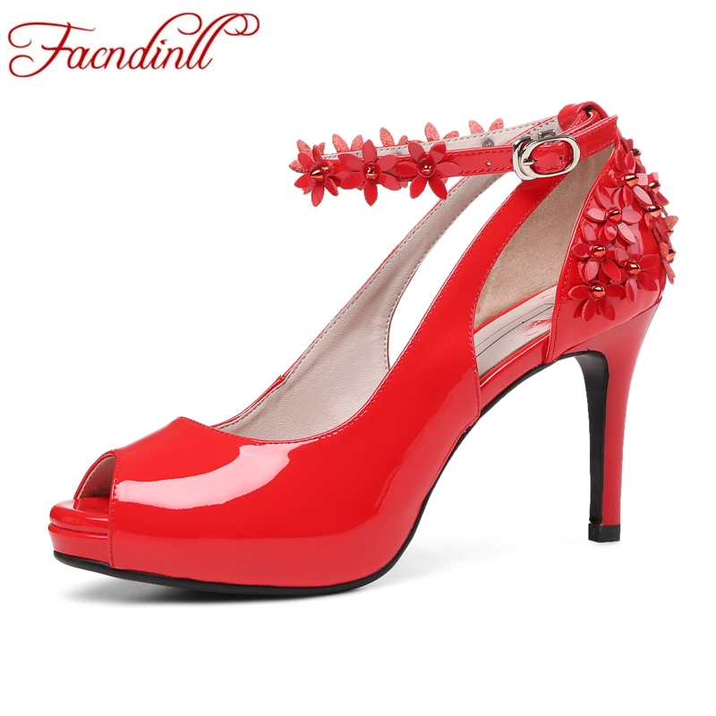 FACNDINLL white red women wedding pumps new sexy thin high heels peep toe platform shoes woman dress party shoes real leather peter may compact first b2 teacher s book