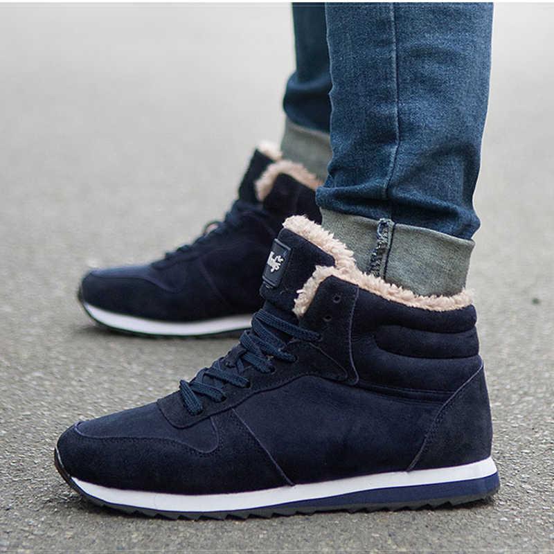 LAKESHI גברים מגפי חם קטיפה גברים קרסול מגפי זכר נעלי שחור 2019 אופנה כותנה מגפי גברים שלג מגפי תחרה עד חורף סניקרס