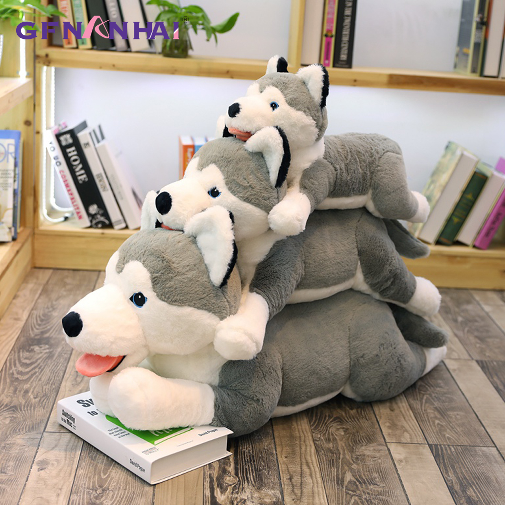 1pc 70/90cm Giant Animal Husky Plush Toy Lovely Simulation Dog Pillow Stuffed for Children Kids Birthday Christmas Gift Toys northern europe style double 3d printing ins doll plush sofa stuffed animal child toys birthday xams gift dash pillow cushion