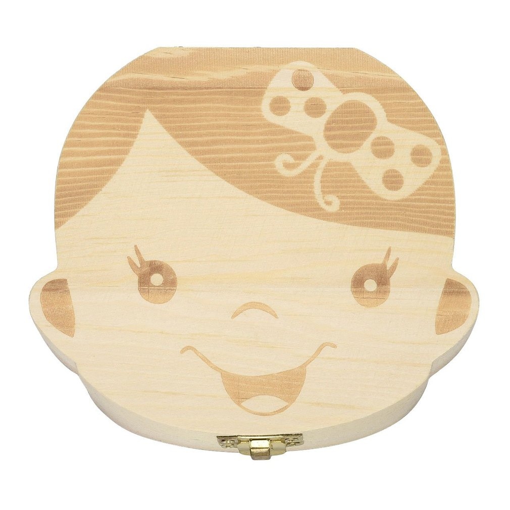 Wooden Baby Kids Tooth Storage Box English Teeth Umbilical Lanugo Organizer Gift Keepsakes Save Baby Wood Tooth Box Storage