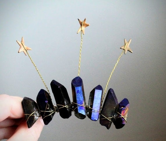 Orion's Belt  Star and Crystal Mini Crown Vintage Inspired Star Hair Comb Celestial Sky Wedding Halo Elven Woodland Tiaratheof