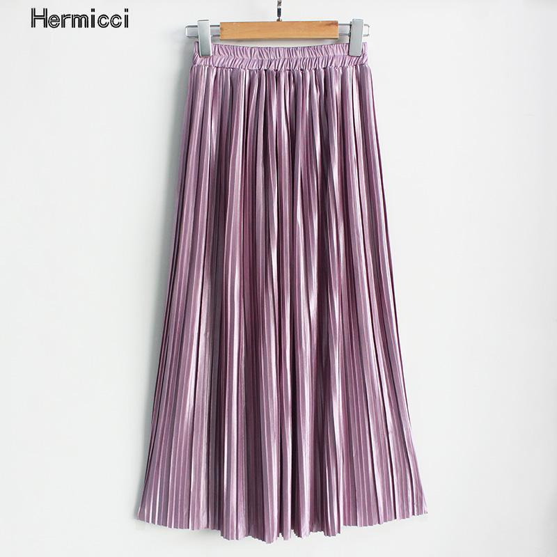 Hermicci 2018 Summer Pleated Ankle-length Maxi Skirt Long Vintage Women Metallic Skirt(China)