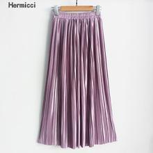 Hermicci 2018 lato plisy długość kostki Maxi spódnica długie Vintage kobiety Metallic spódnica tanie tanio Naturalne Lanon akryl Plisowana Brak Ulica High Street Stałe
